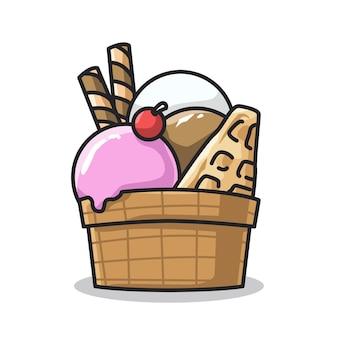귀여운 라인 아트 일러스트레이션으로 컵에 있는 맛있는 달콤한 아이스크림과 스낵