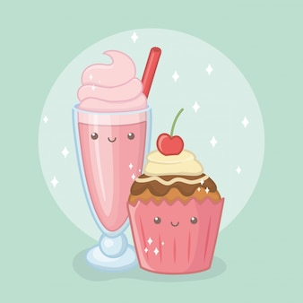 Delicious and sweet milkshake and products kawaii characters
