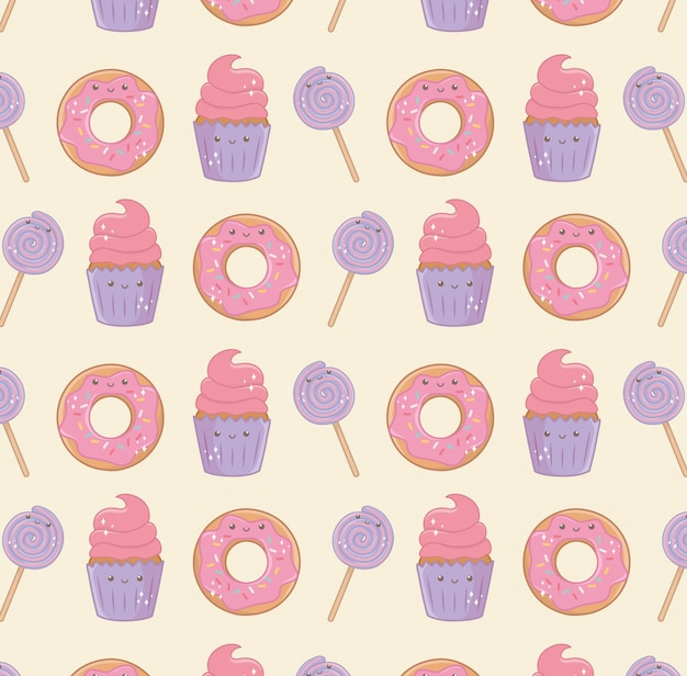 Delicious and sweet products kawaii characters pattern