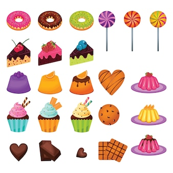 Delicious sweet snack food candy cake chocolate set