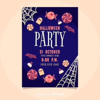 Delicious sweets halloween party flyer template