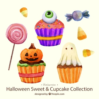 Delicious sweets and watercolor halloween cakes