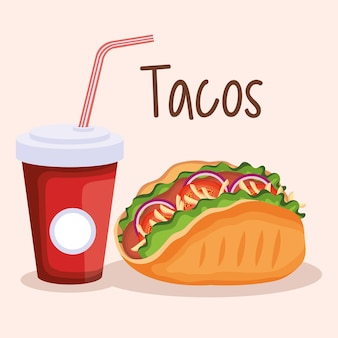 Delicious tacos and soda mexican fast food