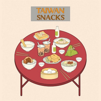 Delicious taiwan snacks collection in hand drawn style