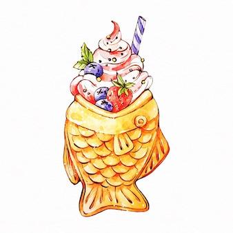 おいしいたいやきケーキ水彩風