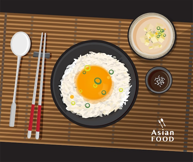 Delicious tamago kake gohan, rice with raw egg and miso soup with tofu,   illustration