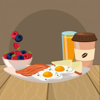 Delicious tasty breakfast cartoon