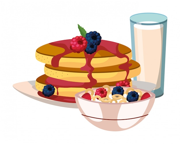 Complete meal with delicious food Vector | Free Download