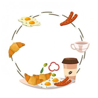 Delicious tasty breakfast frame cartoon