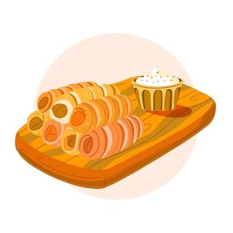 소스를 곁들인 맛있는 테 케뇨 스틱