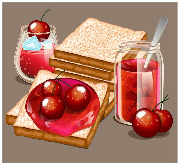 На завтрак подают вкусные тосты со сладким джемом и вишневым соком.