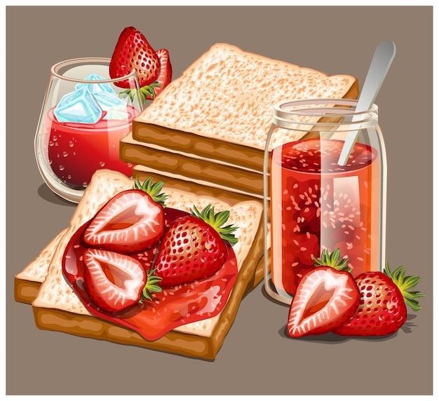 На завтрак подают вкусный тост со сладким джемом и клубничным соком.