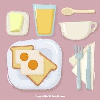Delicious toasts with fried eggs and orange juice