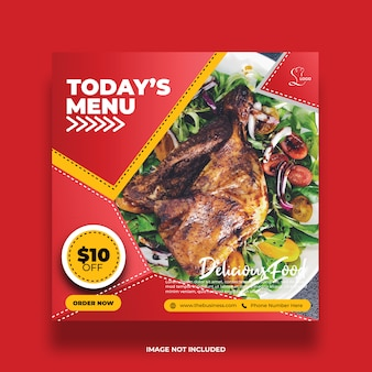 Delicious today's menu restaurant food social media post abstract template