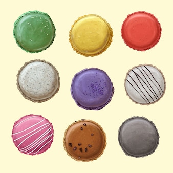 Delicious top view macarons