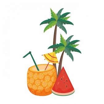 Delicious tropical fruit icon cartoon