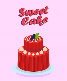 Delicious two tier cake flat cartoon illustration
