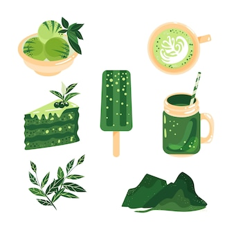 Delicious types of matcha food collection