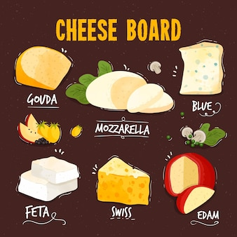 맛있는 종류의 치즈 세트
