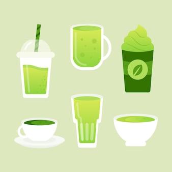 Delicious variety of green matcha tea