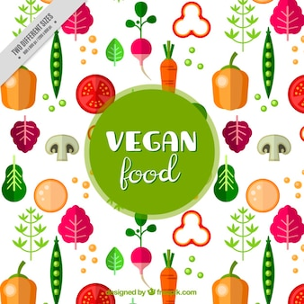 Вкусный веганский питание в плоском фоне дизайна