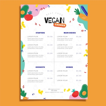 Modello di menu delizioso cibo vegano