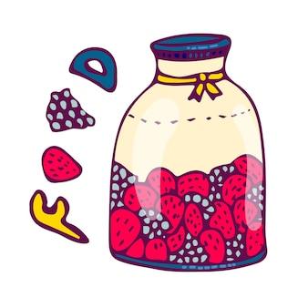 テキスタイルキャップで覆われた熟したジューシーなストロベリー製の瓶の中で、おいしいビーガンジャム。