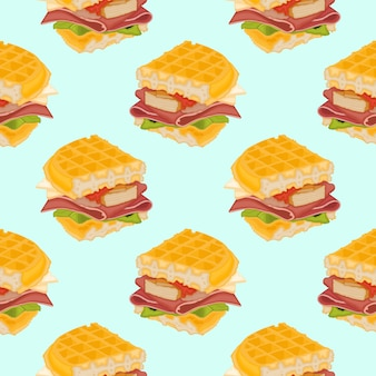 Вкусный вафельный сэндвич