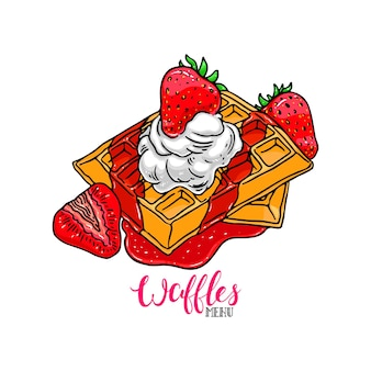 Delicious waffles at white background. hand drawn vector illustration