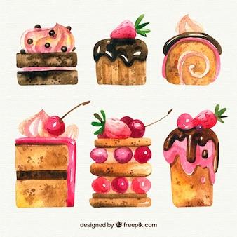 Delicious watercolor desserts set