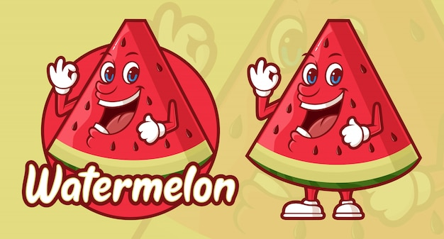Delicious watermelon cartoon, funny character