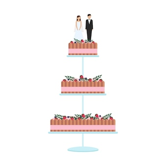 흰색 배경에 고립 된 꽃 장식으로 맛 있는 웨딩 케이크. 활과 토퍼 신부와 신랑 벡터 일러스트와 함께 웨딩 파이