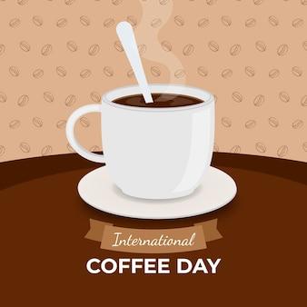 スプーンでコーヒーのおいしい白いカップ
