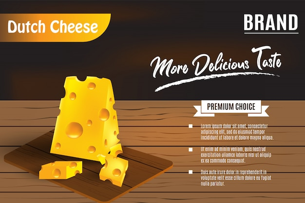 Delicious yellow cheese on wooden table for ads