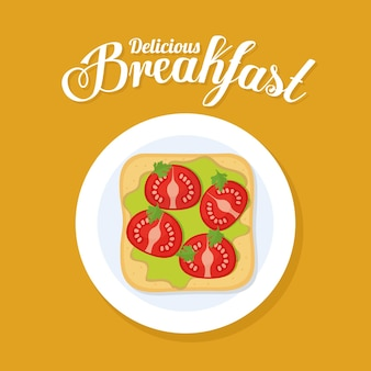 Надпись на завтрак delicius и хлеб с гуакамоле и помидорами в верхней части