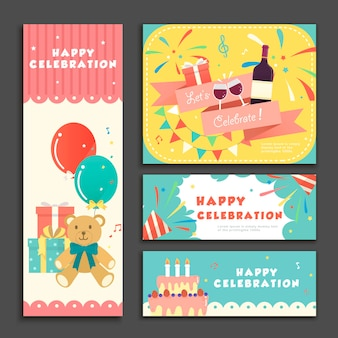 Delightful banner template design set for birthday party