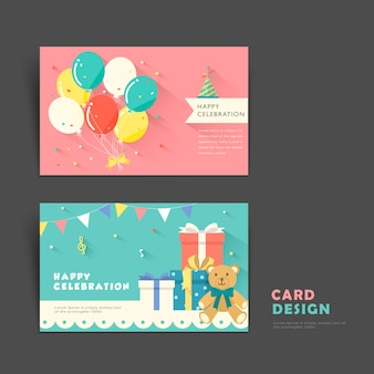 Delightful card template design for birthday party