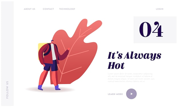 Deliver order on foot landing page template.