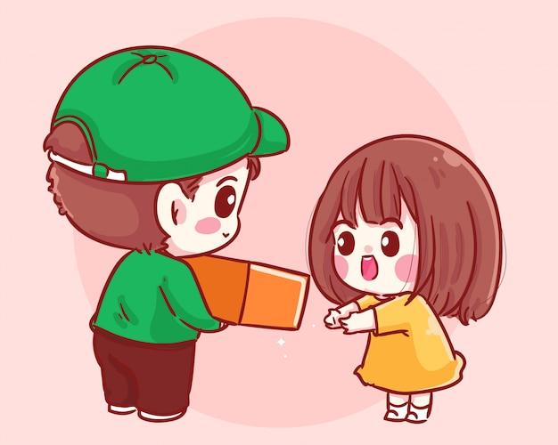 Доставка картонной посылки девушке получателю. концепция доставки мультфильм иллюстрация