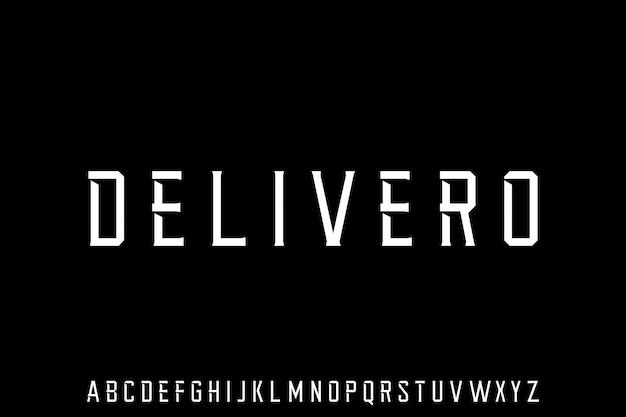 Delivero, геометрическая форма шрифта, вектор, тип, лифт, тиф