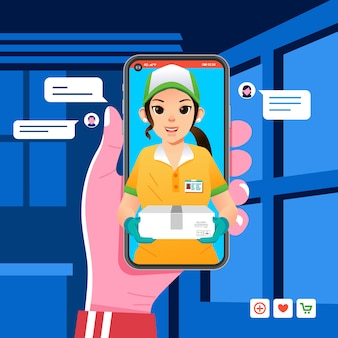 Deliverry order app on smartphone, courier girl sending package to customer, girl wearing hat and gloves bring box