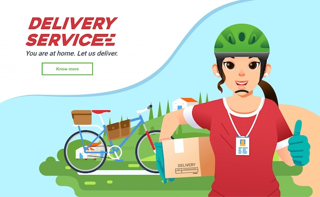 Deliverry service courrier girl sending package with bysicle, women deliverry company mascot with landscape as background