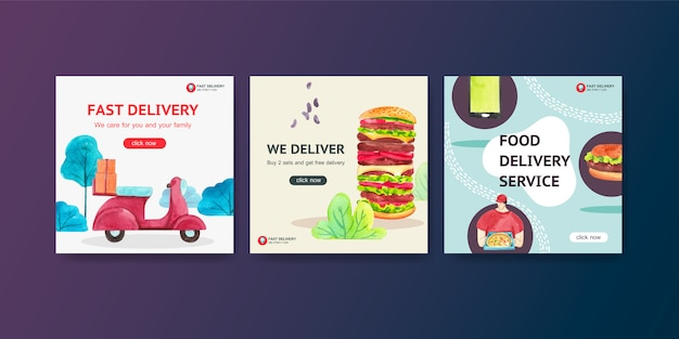 Delivery ads design with men,food,vegetable,pizza,burger watercolor illustration.