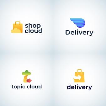 配信とクラウドストレージの抽象的なサインシンボルまたはロゴテンプレートは、ショッピングエンブレムの概念を設定します...