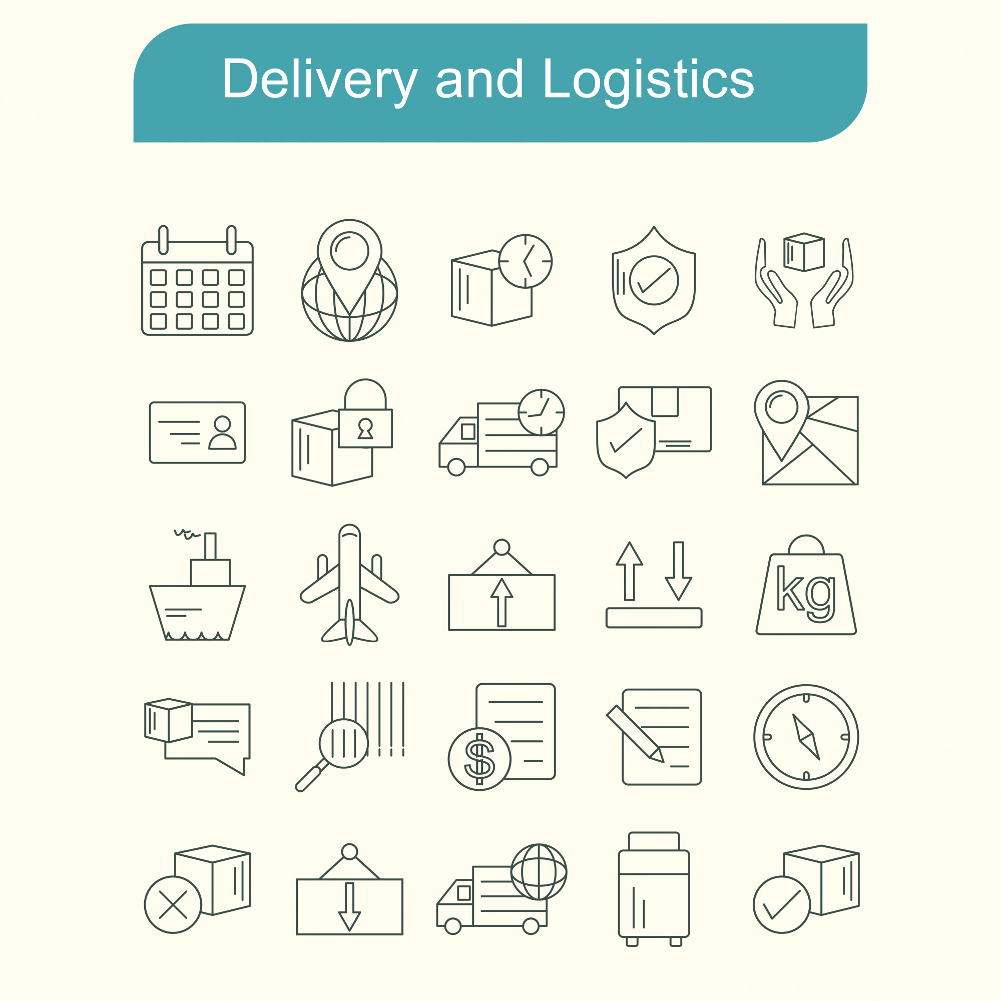 Delivery and Logistics icons set vector