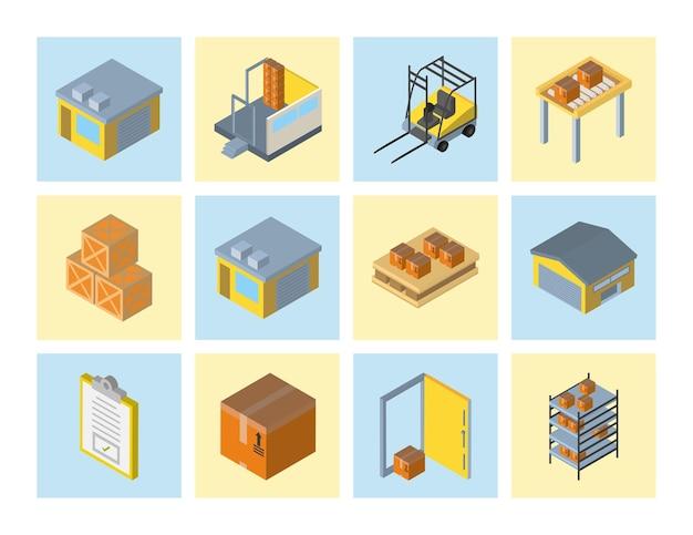 Доставка и логистика дизайн коллекции изометрических иконок, транспортная доставка и тема обслуживания