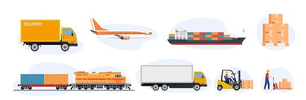 配送とロジスティクスの輸送アイコン。
