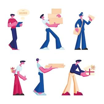 배달 및 우체국 서비스 세트. 흰색 배경에 고립 된 고객에게 소포, 선물 상자 및 피자 주문을 제공하는 남성 캐릭터. 만화 평면 그림
