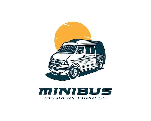 配送と配送サービスのロゴテンプレートミニバンのロゴデザインベクトル図