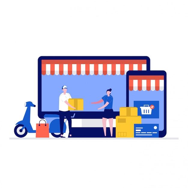 Концепция доставки и покупок иллюстрации с персонажами, экраном компьютера, смартфоном, коробкой, самокатом.